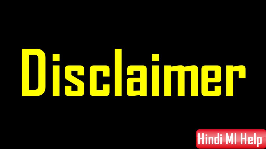 Disclaimer Page Hindi Mi Help