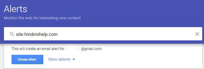 Setup Google Alert for Web