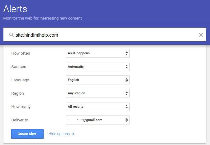 Setup Google Alert for Website